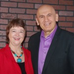 Joe with client, Author/Speaker Kathy Perry.
